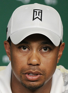 ** ALTERNATE CROP OF 157 ** Tiger Woods speaks during his news conference at the Masters golf tournament in Augusta, Ga., Monday, April 5, 2010. The tournament begins Thursday, April, 8. (AP Photo/Harry How, Pool)