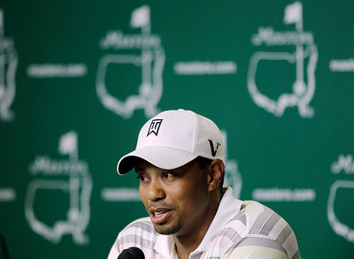 Tiger Woods speaks during a press conference at the Masters golf tournament in Augusta, Ga., Monday, April 5, 2010. The tournament begins Thursday, April, 8. (AP Photo/David J. Phillip)