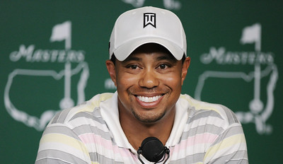 Tiger Woods speaks during his news conference at the Masters golf tournament in Augusta, Ga., Monday, April 5, 2010. The tournament begins Thursday, April, 8. (AP Photo/Harry How, Pool)