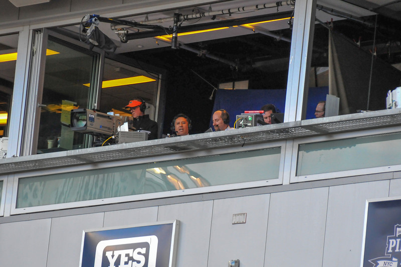 Broadcast booth, Tigers vs. Yankees, Game 2 of League Division Series, October 2011