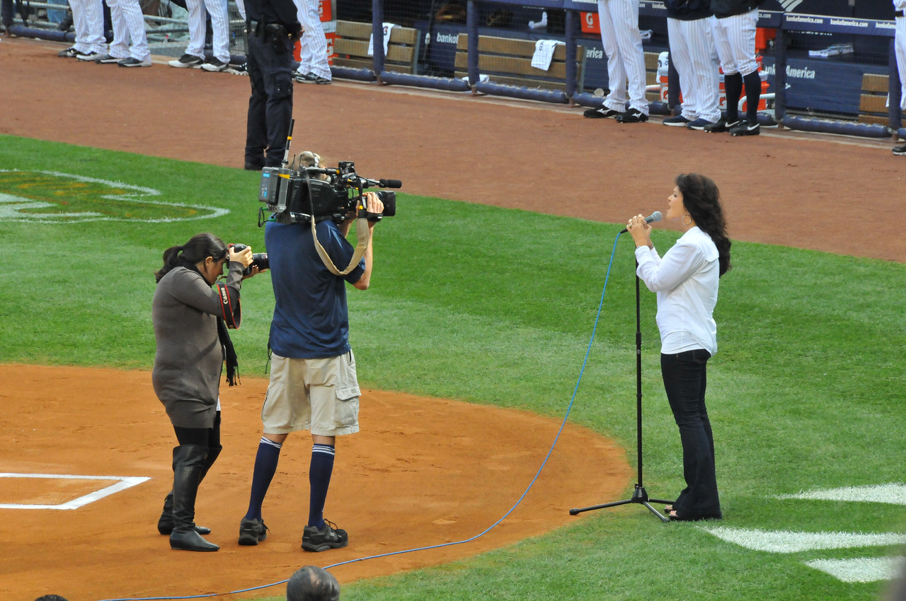 Andy Pettitte's wife singing National Anthem, Tigers vs. Yankees, Game 2 of League Division Series, October 2011