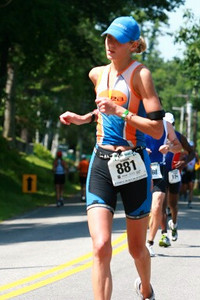 Speedy Eissa on run - 1:45, #3 in her age group!  Wow!