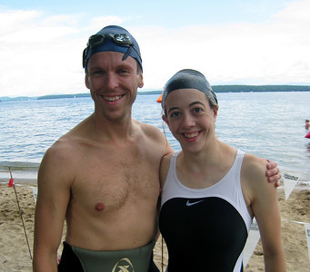 Peter and Michele realizing how cold that water was!