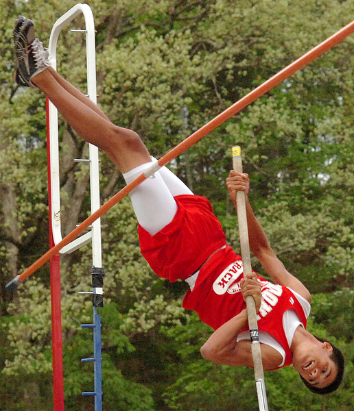"Daniel Boone's Chris Winkle, shown here missing on his last attempt at 12'0"", placed second in the pole vaulting event of the Times News Relays clearing 11'6"". The event continues Friday with the rest of the field events and the running events at Sullivan North High School in Kingsport. Photo by Ned Jilton II"
