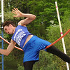 "Unicoi County's Cameron Miller, show here missing at 12 feet, placed third in the pole vaulting event of the Times News Relays clearing 11'6"". The event continues Friday with the rest of the field events and the running events at Sullivan North High School in Kingsport. Photo by Ned Jilton II"