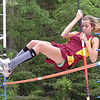 Science Hill's Andrea Sees placed third in the pole vaulting event of the Times News Relays. The event continues Friday with the rest of the field events and the running events at Sullivan North High School in Kingsport. Photo by Ned Jilton II
