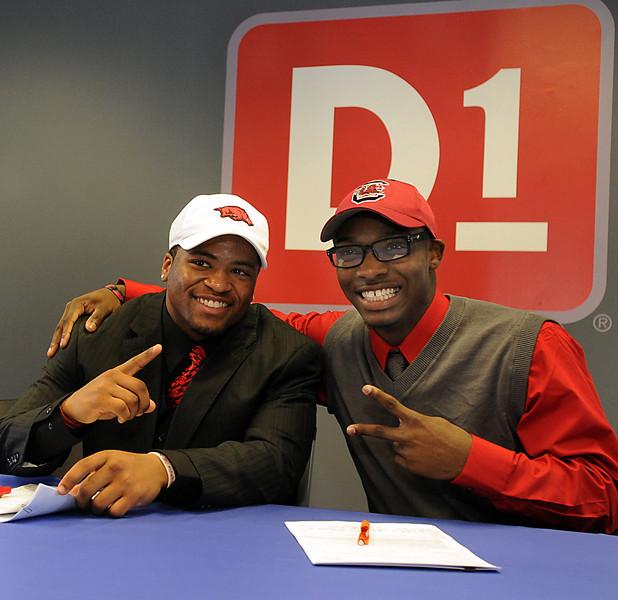 Former Mauldin High School football standout Tiquention Coleman signed a letter of intent to play football at the University of Arkansas at D1 Sports.<br /> GWINN DAVIS PHOTOS<br /> gwinndavisphotos.com (website)<br /> (864) 915-0411 (cell)<br /> gwinndavis@gmail.com  (e-mail) <br /> Gwinn Davis (FaceBook)