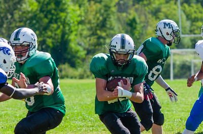 Josh Brazeau looks for the holes in the defense and drives McCann down to the goal line in the fourth quarter.