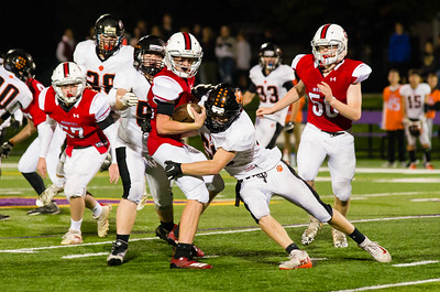 Mounties Sean Mallow had little room to run on this kick return Friday night after Lee took a 35-6 lead in the fourth quarter.