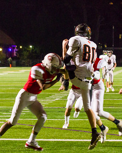Cole Redstone (80) catches a Homer Winston pass in the endzone for a Lee touchdown in the 2nd quarter.