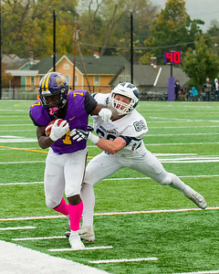 Ephs runningback TJ Dozer gets knocked out of bounds in the second quarter. He would leave the game with an injury from this play.