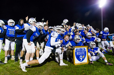 Wahconah players celebrate their win over Northampton, and take home the Route 9 trophy.