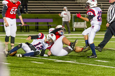Ryan Goss sacks Mahar's Noah Chabot on the final play of the game to seal the Mountie's come-from-behind win.