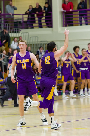 Ephs Henry Feinberg (12) and Spencer Spivey (11) celebrate as they gain the lead over Worcester State late in the first half.