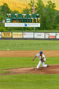 North Adams pitcher Christopher Cepeda tosses a pitch during Monday's 3-2 loss to the Vermont Mountaineers.