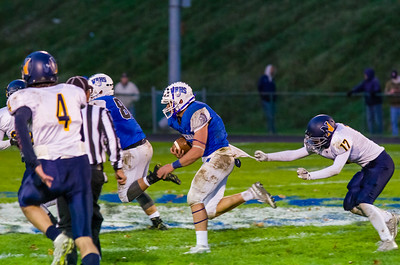 Warriors runningback Connor Noyes (8) was unstoppable all evening Saturday during their 49-7 win over Northampton.