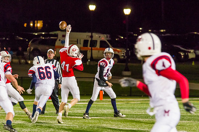 Trevor Sawyer (41) deflects a Noah Chabot (12) pass in the 4th quarter.