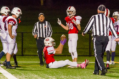 Zeke Locklear (7) and Colin Doyle (88) await the referee's decision on Locklear's late 4th-quarter catch which put Greylock ahead 22-18.