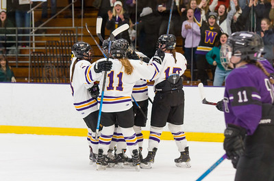 Ephs women celebrate Brynn Puppe's first period goal in Saturday's contest against Amherst.