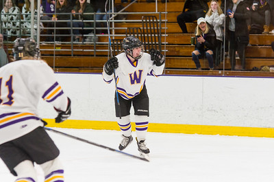 Brynn Puppe celebrates her first period goal against Amherst Saturday.