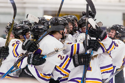 The Ephs women's ice hockey team celebrates their win over Amherst Saturday.
