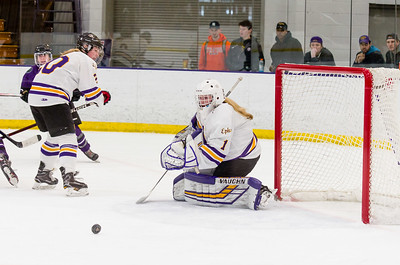 Chloe Heiting (1) makes one of her 27 saves on the day, and only allowed one goal Saturday against Amherst.