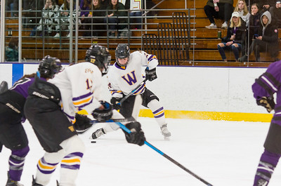 Brynn Puppe (24) lets a shot go in the first period which put the Ephs up 1-0 over Amherst.
