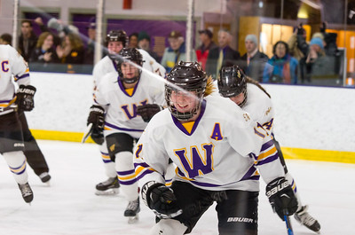 Abby Brustad (11) celebrates her second period goal Saturday.