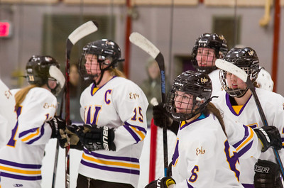 Ephs women regroup after a late Middlebury goal was waived off for being scored off a high stick.