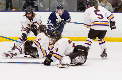 Holding onto a 3-2 lead, Ephs Amanda Reisman (14) and Brynn Puppe (24)  lay out to block a centering attempt by Jenna Letterie (18).