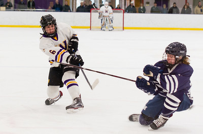 Mia Carroll (6) takes a shot on goal in the first period.