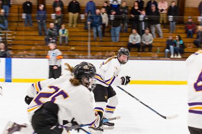 Williams College womens ice hockey team celebrates their 3-2 victory over Middlebury to take the NESCAC championship.