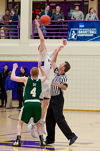Matt Karpowicz (24) wins the opening jump for Williams. The Ephs hosted the Husson Eagles in the first round of the NCAA Division III tournament Friday night.