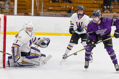 Chloe Heiting (1) slides to the right post to cut off Emma Flynn's (16) angle in the first period.