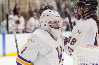 Ephs goaltender Chloe Heiting (1) celebrates with Delaney Szlezyngier (18) as time expires Saturday.