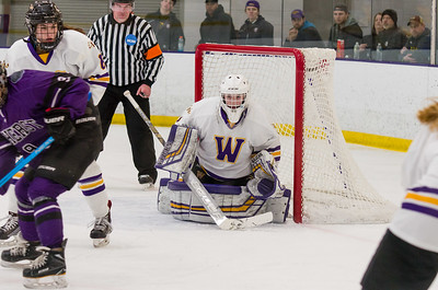 Chloe Heiting (1) seals off the bottom of the net during the second period.