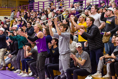 Williams College students cheer as the Ephs mount a comeback after being down early in the first half.