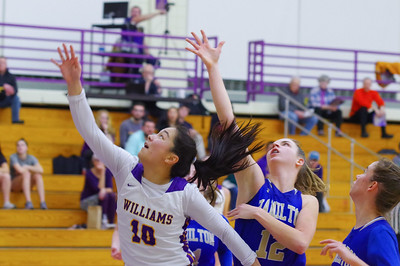 Williams' Mikaela Topper (10) goes up for the rebound against Hamilton's Liz Arnold (12).
