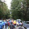 The crowd heading back to their cars after the Tunitas Creek climb.  It was a great turn out despite the weather.  An amazing number of people climbed up to Skyline, got completely soaked and froze waiting to see the show.