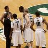Coach Izzo talks with Chris Allen, Kalin Lucas, Raymmar Morgan, Austin Thornton, and Delvon Roe.