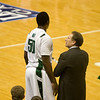 Tom Izzo talks with Derrick Nix.