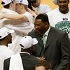 Assistant Coach Dwayne Stephens talks with Kalin Lucas.  Travis Walton, Derrick Nix also look on.