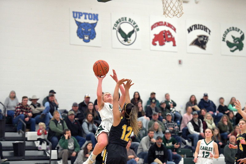 Matthew Gaston | The Sheridan Press<br>Tongue River's Kalie Bocek (22) shoots a fade away jumper and draws the foul during play against Wright Friday, Jan. 17, 2020.