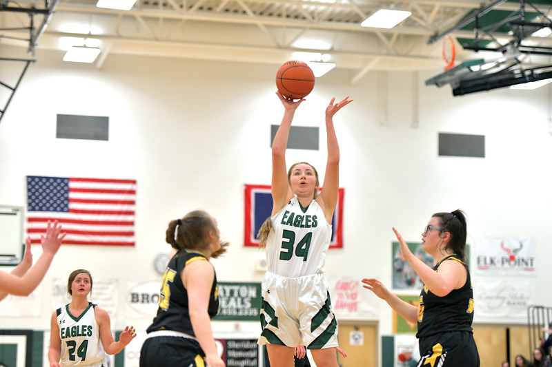 Matthew Gaston | The Sheridan Press<br>Tongue River's Sydnee Pitman (34) fires off a shot from the top of the key against Wright Friday, Jan. 17, 2020.