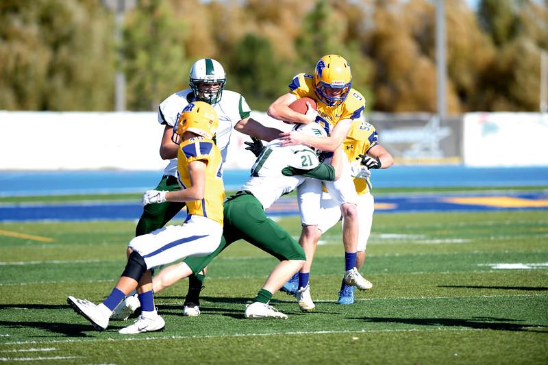 Matthew Gaston | The Sheridan Press<br>Tongue River's Gabe Frederick (21) tackles Sheridan quarterback Rich Hall (9) Saturday, Oct. 19, 2019.