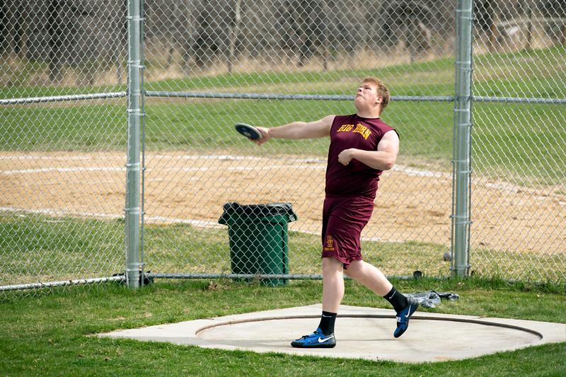 Matthew Gaston | The Sheridan Press<br>Big Horn's Seth Mullinax hurls the discus during the track meet at Tongue River High School Friday, April 26, 2019.
