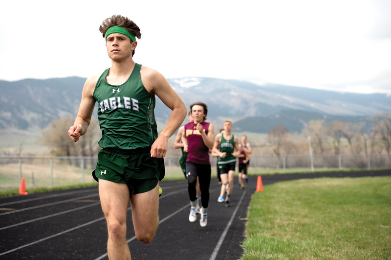 Matthew Gaston | The Sheridan Press<br>Tongue River's Cooper Vollmer takes an early lead in the 1600-meter run during the track meet hosted by Tongue River High School Friday, April 26, 2019.