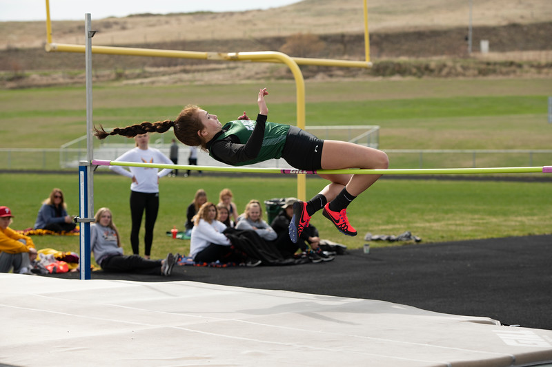 Matthew Gaston | The Sheridan Press<br>Tongue River's Holly Hutchinson competes in the high jump Friday, April 26, 2019.