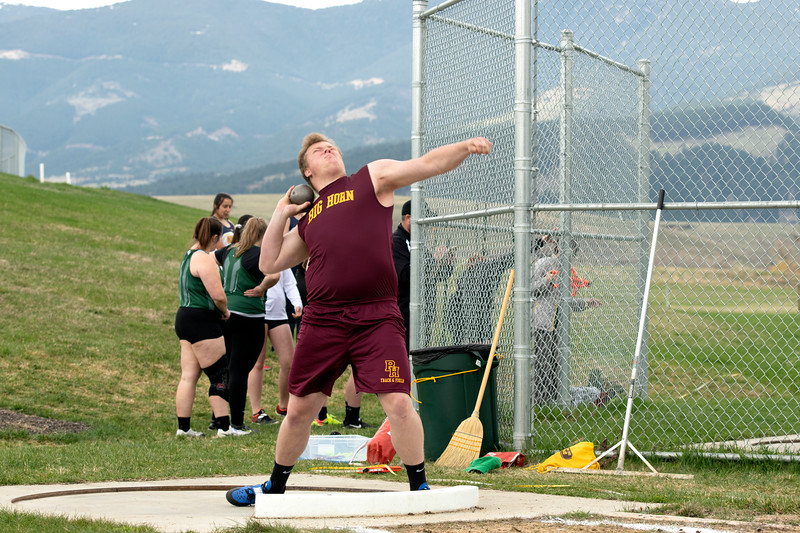 Matthew Gaston | The Sheridan Press<br>Big Horn's Seth Mullinax took first place in the shot put event during the Tongue River High School track meet Friday, April 26, 2019.
