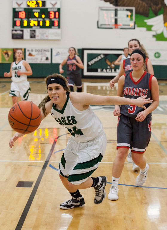 Tibby McDowell | The Sheridan Press<br /> <br /> Brittany Fillingham tries to keep the ball inbounds against Sundance at Tongue River High School Saturday Jan. 27, 2018.
